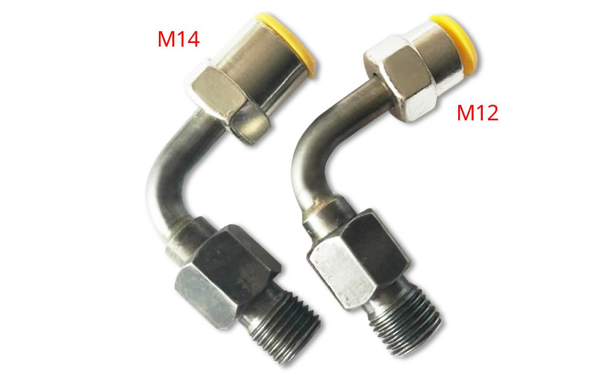 90 degree adapters for high pressure pipelines supplying injectors of all manufacturers.