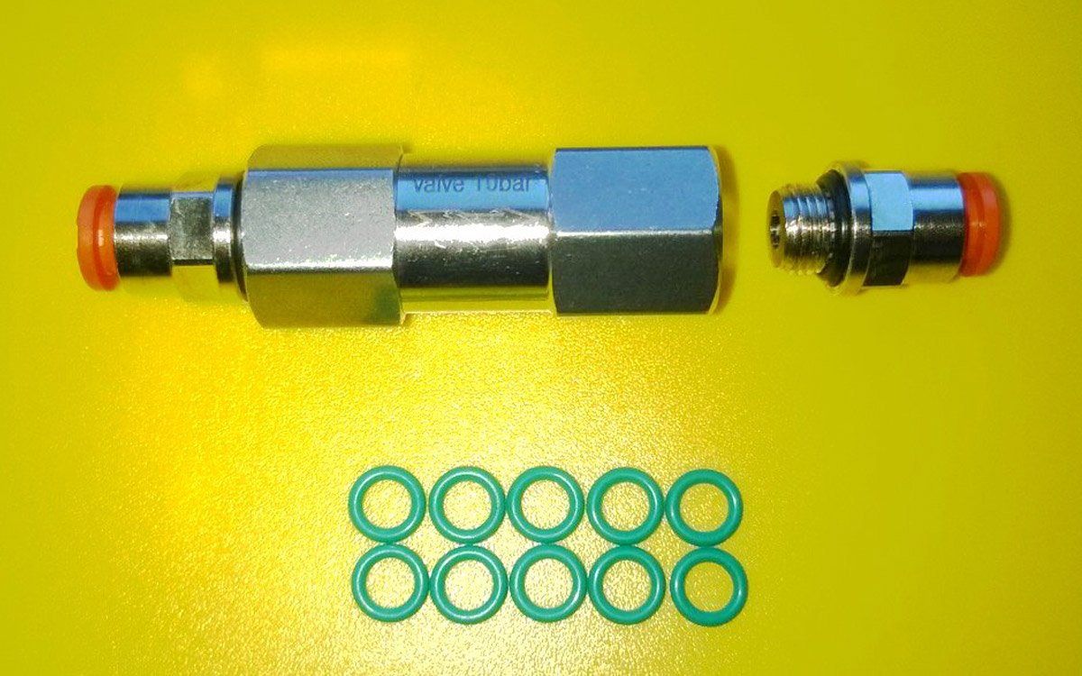 Valve for creating overpressure in the return flow line of piezo injectors BOSCH series 115,116,117